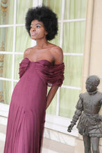 Carine burgundy demi-couture silk chiffon dress