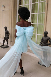 Blue silk chiffon demi-couture mini dress with detachable bow