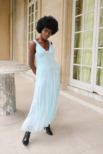 Blue demi-couture silk chiffon midi dress