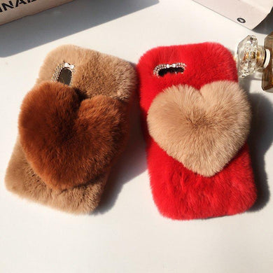 New Autumn Cute Heart Plush Case for iPhone 6-Xsmax