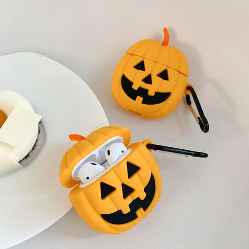 3D Halloween Pumpkin Case With Hook For AirPods