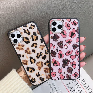 Luxury Gold Foil Bling Leopard Spot Case For iPhone Series