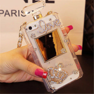 Luxury Bling Crystal Diamond Perfume Bottle Case With Chain For iPhone Series