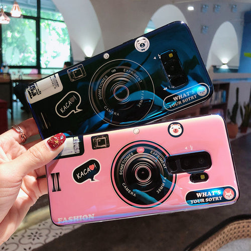 Retro Vintage Camera Pattern 3D Pop Stand Holder Case For Samsung Galaxy Series