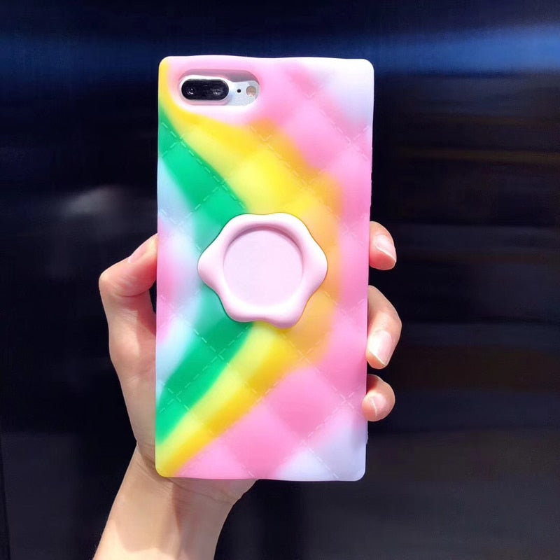 Fashion Pink Rainbow Square Soft Silicon Case For iPhone Series