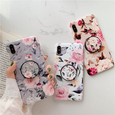 Fashion Art Floral Case With Holder For iPhone Series