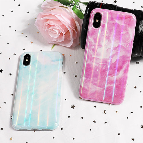 Laser Beautiful Holographic Marble Phone Case For iPhone Series