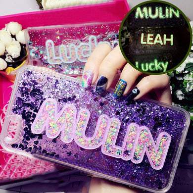 Luminous Glitter Custom Name Letter Case For iPhone & Samsung Galaxy Series