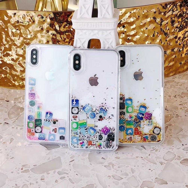 Cute Amusing Glitter Mobile apps Icon pattern phone Case For iPhone 6-XS Max XR | VIVITODAY