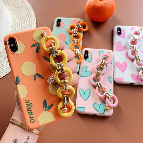Summer Fruit Love Heart Case With Wrist Chain For iPhone Series