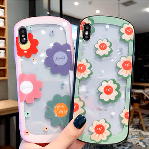 Cute Arc Flowers Tempered Glass Case For iPhone Series