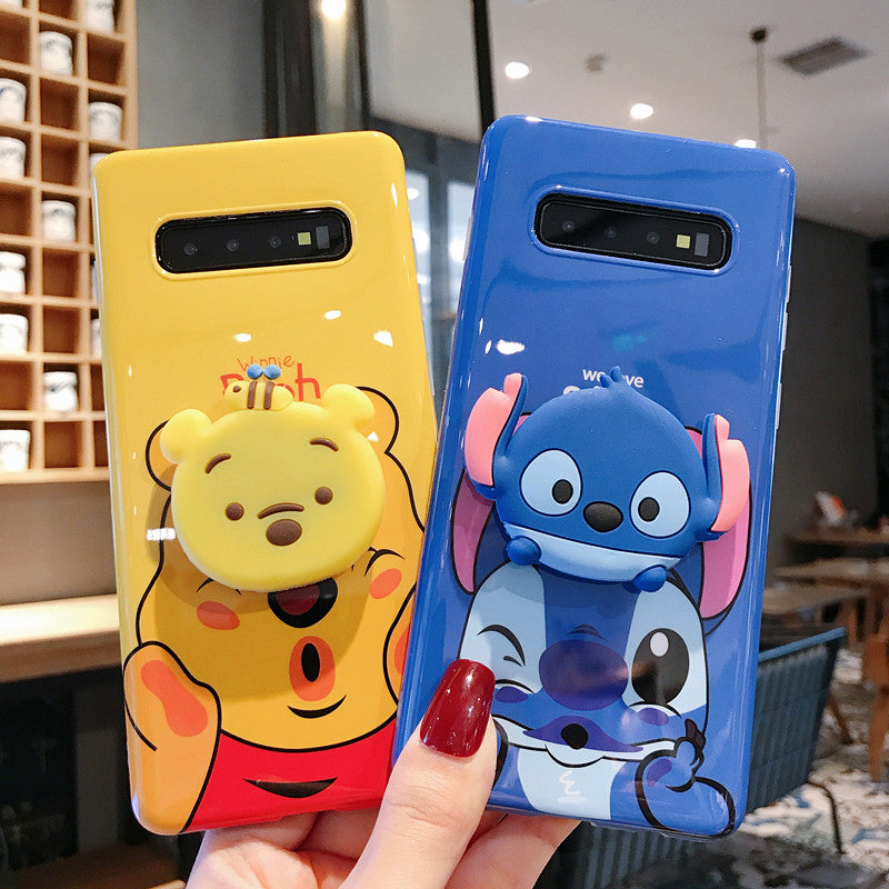 competitive price e6d60 26bd7 Winnie&Stitch Case with Pop Socket for Samsung Galaxy S8 S10 Plus Note 8 9