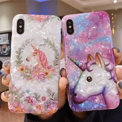 Glossy Colorful Marble Unicorn Case For iPhone Series