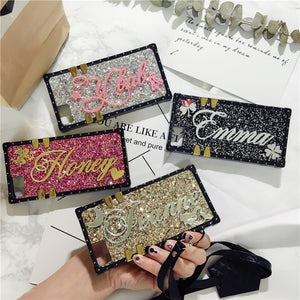 For Samsung Galaxy Series-Unique Custom Name Letter Sparkle Square Case