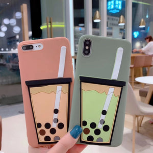 Cartoon 3D Milk Tea Case For iPhone Series