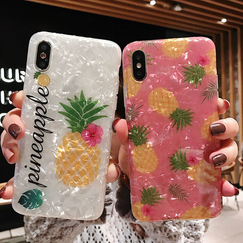 Glossy Fashion Summer Fruit Pineapple Case For iPhone Series