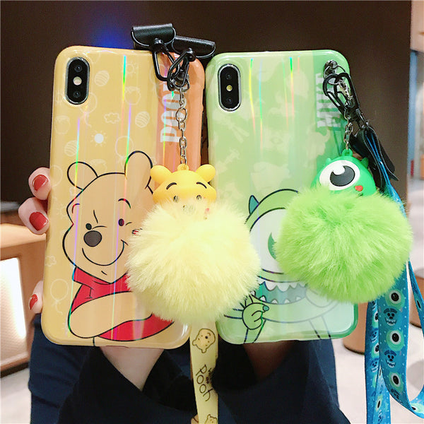 Cartoon Donald Daisy Duck Mickey Minnie Pooh Mike case+ toy stander +Strap For iphone 6-XS Max