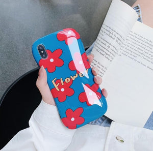 Glossy Fashion Cute Arc Summer Flower Case For iPhone Series