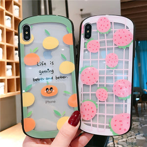 Fashion Fruit Strawberry Orange Arc Shaped Tempered Glass Case For iPhone Series