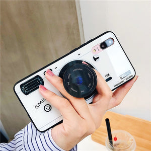 Fashion Camera Tempered Glass Case With Holder For iPhone Series