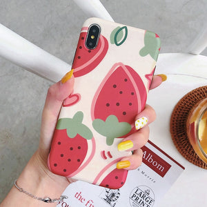 Cartoon Summer Pear Strawberry Case For iPhone Series