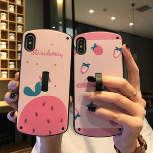 New Cute Fruit Strawberry Orange Arc Case With Ring For iPhone Series