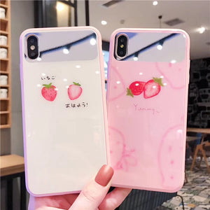 Fashion Cute Summer Fruit Strawberry Mirror Case For iPhone Series