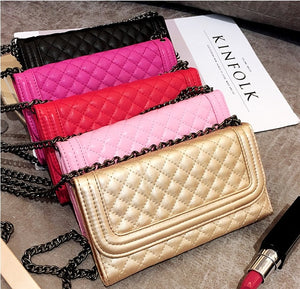 Luxury Folding Mirror Card Wallet Leather Case With Crossbody Chain For iPhone Series