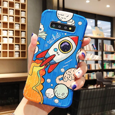 Cartoon Colorful Rocket Case For Samsung Galaxy Series