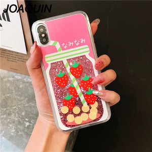 Glitter Summer Fruit Juice Liquid Lemon Strawberry Quicksand Case For iPhone Series
