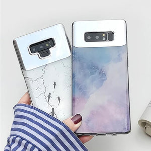 Fashion Makeup Mirror Gradient Marble Case For Samsung Galaxy Series