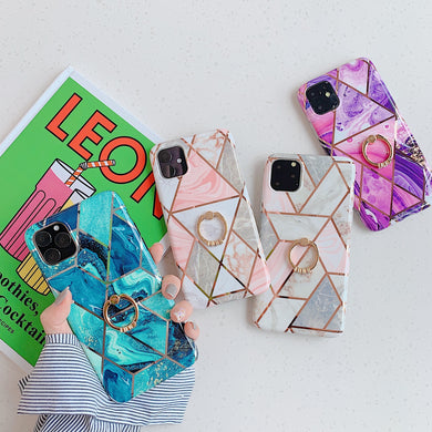 Fashion Geometric Marble Case For iPhone Series