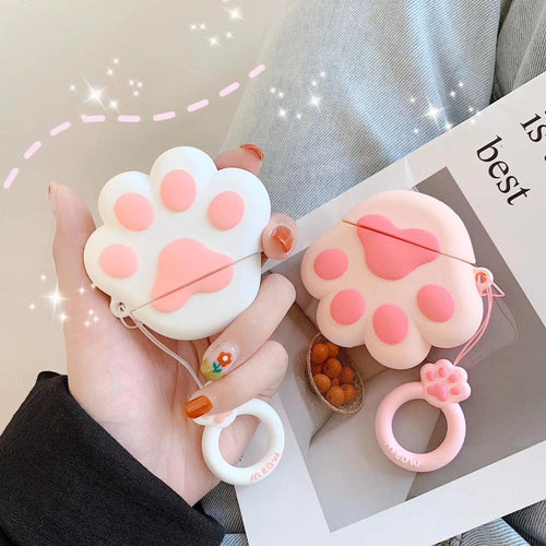 Cute Cat Claw Earphone Case With Ring For AirPods