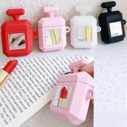 Fashion Make Up Mirror Perfume Bottle Case For AirPods