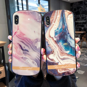 Luxury Marble Arc  Tempered Glass Case For iPhone Series