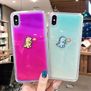Luminous Neon Sand Baby Dinosaur Case For iPhone Series