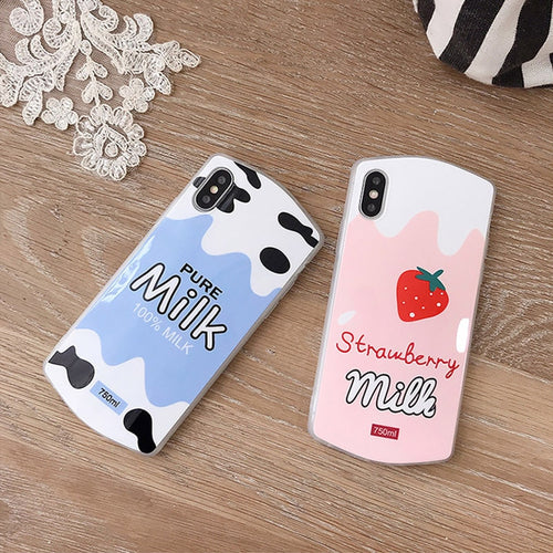 Cute Strawberry Milk Case For iPhone Series