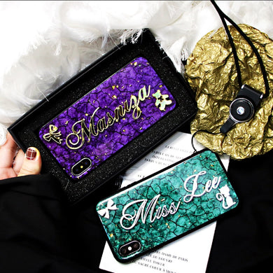Luxury Unique Custom Name Letter Case With Strap For iPhone Series