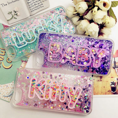 Glitter 3D Custom Name Letter Liquid Quicksand Case For iPhone & Samsung Galaxy Series
