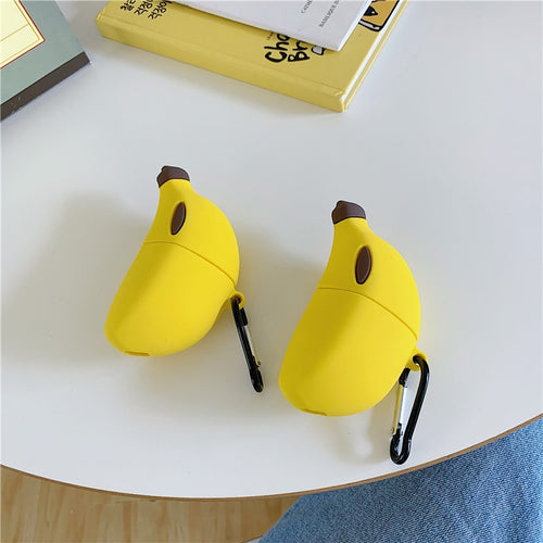 Lovely 3D Fruit Funny Banana Case With Hook For AirPods