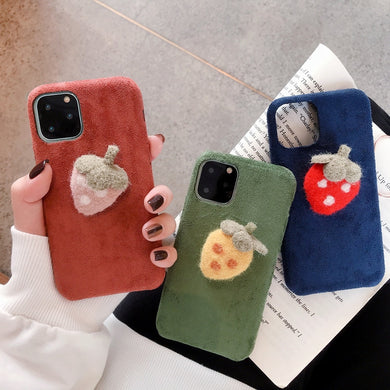 Cute Strawberry Plush Fabrics Case For iPhone Series