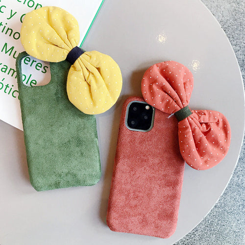 New Autumn Winter Cute Bow Cotton Plush Fabrics Case For iPhone Series