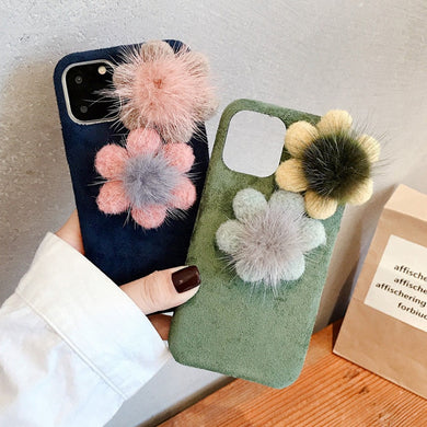 Fashion 3D Flower Warm Plush Fabrics Case For iPhone Series