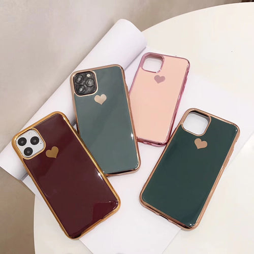 Fashion Plating Love Heart Case For iPhone Series