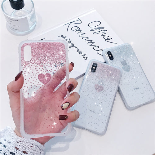 Glitter Love Heart Case For iPhone Series