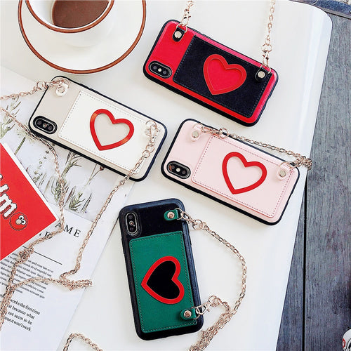 Fashion Love Card Wallet Case With Strap For iPhone Series