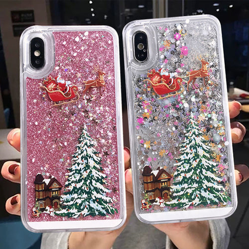 Dynamic Liquid Quicksand Christmas Tree Case For iPhone Series