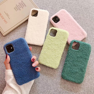 Luxury Autumn Winter Warm Plush Case For iPhone Series