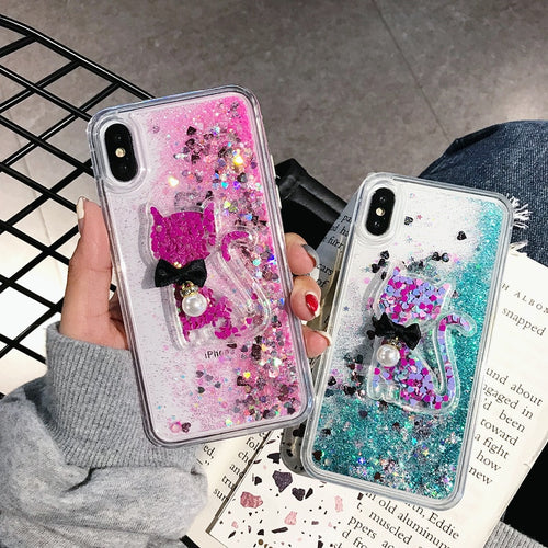 Glitter Quicksand Fashion Cute Kitty Case For iPhone Series
