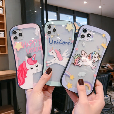 Fashion Cute Unicorn Glass Case For iPhone Series